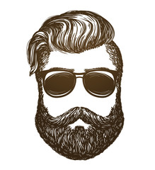 Hand drawn portrait of man with beard. Hipster, sunglasses sketch. Vintage vector illustration