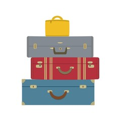 Four suitcases isolated on a white background. Vector illustration.