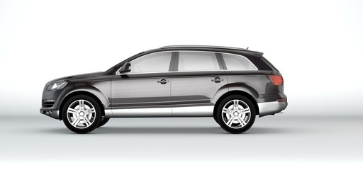 Generic black car - 3d rendering on white