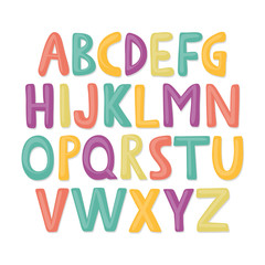 Cute and happy hand drawn alphabet