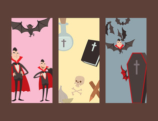 Cartoon dracula vector cards symbols vampire icons character funny man comic halloween and magic spell witchcraft ghost night devil tale illustration.
