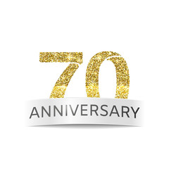 Seventy-year anniversary. The flag of the 70th anniversary gold glitter color
