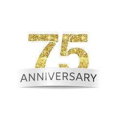 Seventy-five anniversary. The flag of the 75th anniversary gold glitter color