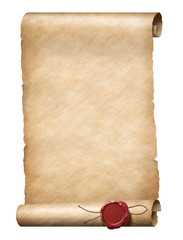 parhment scroll with wax royal seal