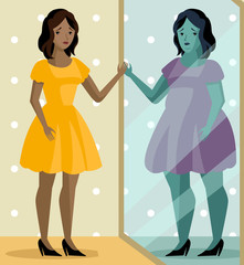 african woman standing a obese mirror image