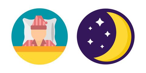 Sleep time set pajamas moon icon vector illustration bed sign symbol isolated dream bedroom bedtime nap pyjamas moon