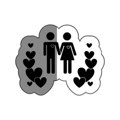 couple silhouette with hearts