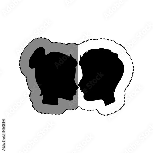 couple silhouette with hearts fotolia com の ストック画像と