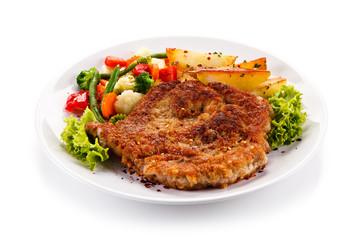 Fried pork chop with potatoes