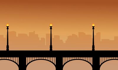 Bridge with street lamp silhouettes beauty scenery