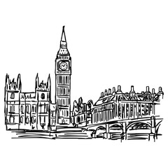 Big Ben and westminster bridge in London - vector illustration sketch hand drawn isolated on white background