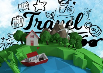 3D animation earth with sky background and graphic about travel