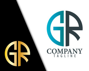 Initial Letter GR With Linked Circle Logo