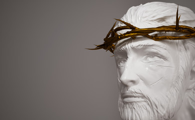 Jesus Christ Porcelain Statue with Gold Crown of Thorns 3D Rendering