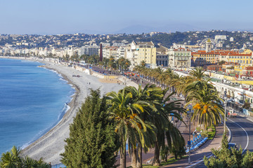 NICE, FRANCE, on JANUARY 9, 2017. Promenade des Anglais - the main embankment of the city, one of the most beautiful in the world, stretches along the sea and the beach. Aerial view from Shatto's hill