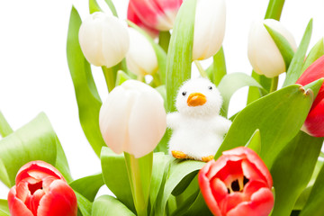 Bouquet Of Tulips With Easter Ornament