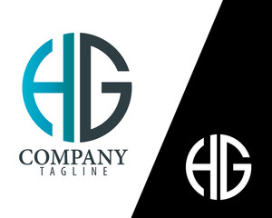 Initial Letter HG With Linked Circle Logo