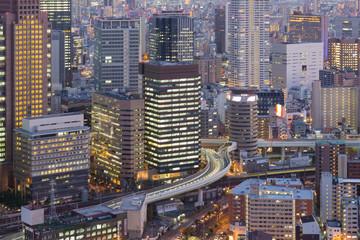 Close up, Umeda Osaka central business building, Japan
