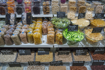 Dried pulses and fruits stall in Triana Market, Seville, Spain