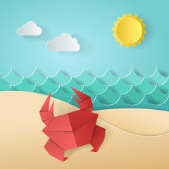 Crab on the beach sea ocean, sky, sand. Concept of summer time. Design by paper origami art and craft style