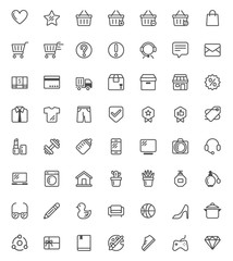 56 shopping icon set with out line  vector style