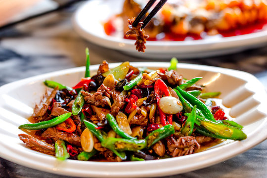 delicious chinese food on table
