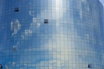 Futuristic Modern Blue Glass Sky Cloud Mirror Building Windows