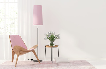 Interior with a light pink furniture
