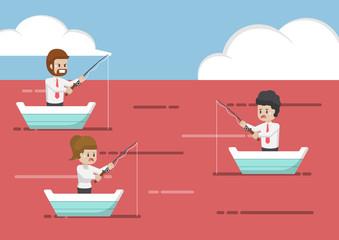 Business people fishing in red ocean.