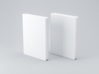 Two white blank Books Mockup with textured cover, 3d rendering