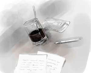 writer author desk writing pen on paper with glass of black coffee and mobile phone