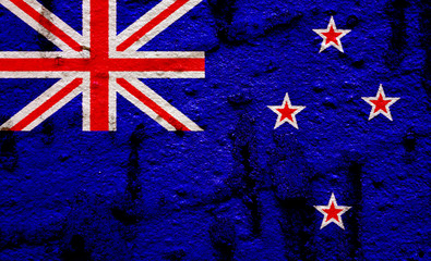New Zealnad Flag On Grunge Wall Background