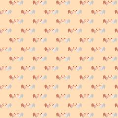 орнамент с петушками на розовом фоне, векторная иллюстрация