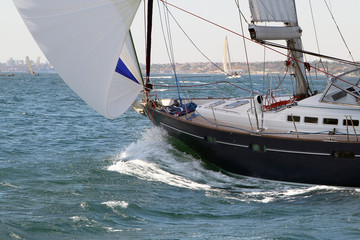 Sailing yacht on the move