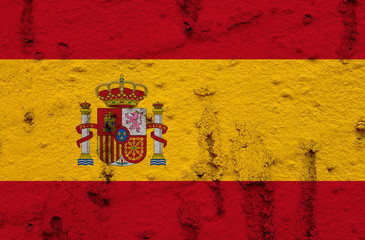 Spanish Flag On Grunge Wall Background