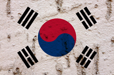 South Korean Flag On Grunge Wall Background
