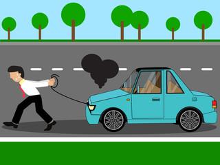 Employees pulling damage car