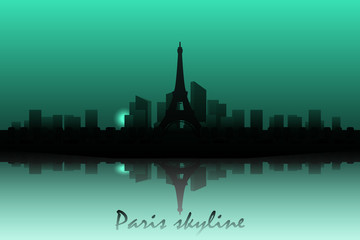 Paris skyline silhouette with Eiffel tower vector illustration. Capital of France.
