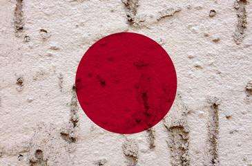 Japanese Flag On Grunge Wall Background