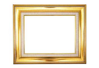 antique golden frame isolated on white background.Gold frame isolated.Golden frame isolated.Rectangle golden frame isolated