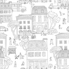 Seamless pattern background. Vector illustration. Urban street in the European city. People walking, residential buildings with cafes and shops, the different situations of town life