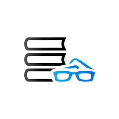 Duo Tone Icon - Books and glasses