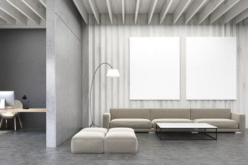 Living room with pictures, wooden walls and sofa