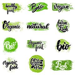 Set of hand drawn emblems. Eco food, organic food, bio, vegan, natural. Design elements for logo, label, badge, sign. Vector illustration