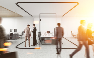 People in conference room with glass walls. 3d rendering