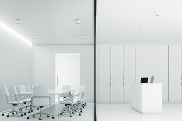 White meeting room and reception