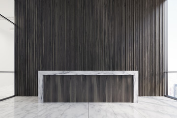 Dark wood reception, wooden wall
