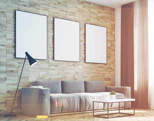 Light wood walls living room, side, toned