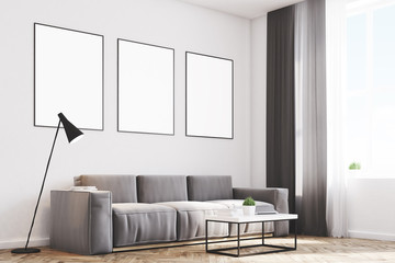Gray living room with posters, side