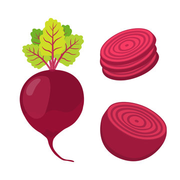 Beetroot and slices. Cartoon flat style
